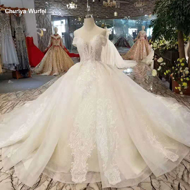 LSS404 Ball Gown Wedding Gown Like White Off The Shoulder Beaded Sweetheart Lace Up Back Wedding Dresses With Train Real Factory