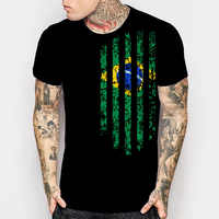 Brasilien Vintage Flagge T-Shirts herren Kurzarm Schwarz T Shirts Lustige Druck Rock Mode Tops