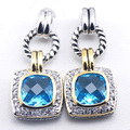 New Simulated Aquamarine Woman 925 Sterling Silver Crystal Earrings TE386