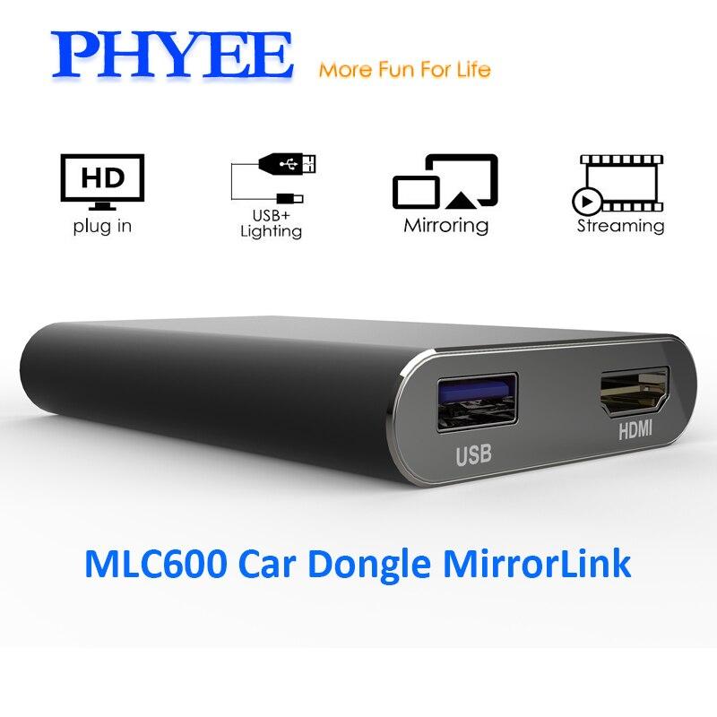 PHYEE USB Miroir Lien Voiture Dongle Écran Boîte De Mise En Miroir Plug and Play Audio Vidéo Adaptateur MLC600 HDMI CVBS pour iPhone Android Téléphone