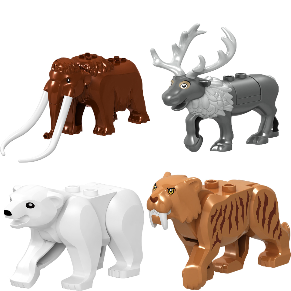 Single New Legoings Animal Big Polar Bear Victor Green ELK Elephant Figure Building Blocks Kids DIY Gifts Toys For Children