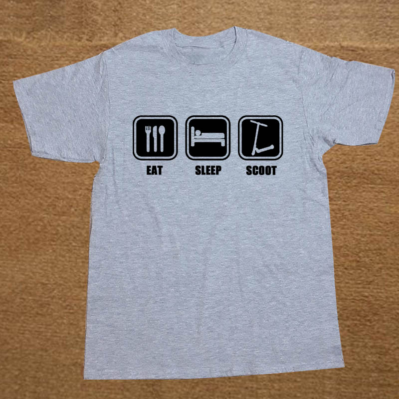 3dc68ea5d Brand Clothing EAT SLEEP SCOOT push stunt scooter Funny T Shirt Tshirt Men  Cotton Short Sleeve