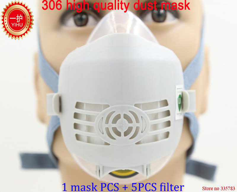 YIHU respirator dust mask High quality PM2.5 dust smoke respirator mask silicone + activated carbon filter pulp dust mask silicone abs dust filter respirator mask dark grey