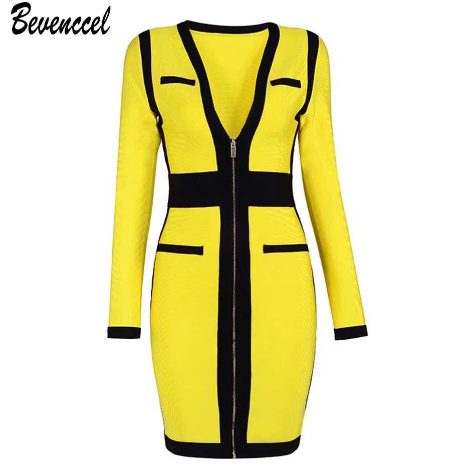 Hot 2018 New Arrival Women Winter Dress Long Sleeve V Neck Front Zipper  Split Bodycon Vestidos 8e51e64efc38