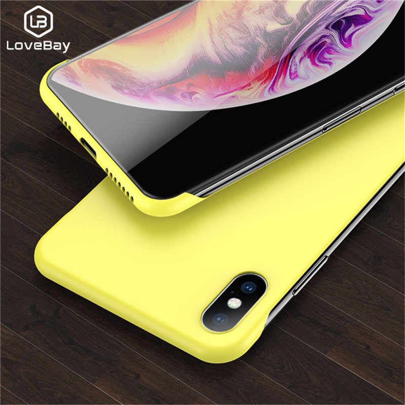 Lovebay Slim Scrub Hard PC Frameless Phone Case For iphone 6 6S 7 8 Plus XR X XS Max Solid Matte Cover Back Case Borderless