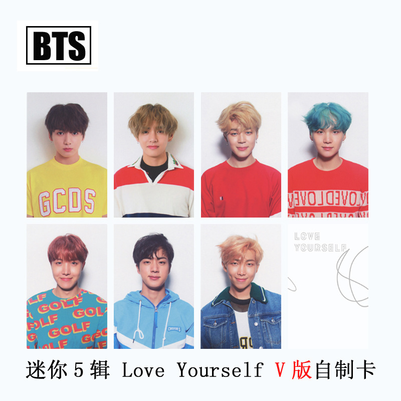 [MYKPOP]BTS Bangtan Boy LOVE YOURSELF V Album Photo Card K-POP New Fashion Paper Cards Autograph Photocard SA18030603