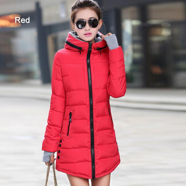 Warm Winter Jackets 2017 Women Fashion Down Cotton Parkas Casual Hooded Long Coat Thickening Parka Zipper Cotton Slim
