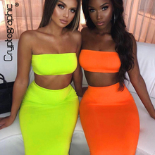 Cryptographic Neon Fashion Two Piece Set Strapless Tube Tops and High Waist Long Skirt 2019 Matching for Women Outfit