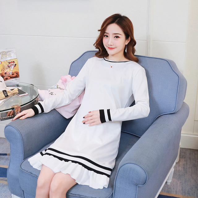 0778bb0a4bd55 Formal Maternity Clothes Pregnancy Dress Spring Autumn Loose Maternity  Clothing Of Pregnant Women Premama Vestidos White
