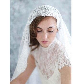 7cb39bba13 Velos de boda velos de novia blanco marfil de tul encaje recortado borde  Mantilla velos con diadema velos de novia 2019 visillos Mariage