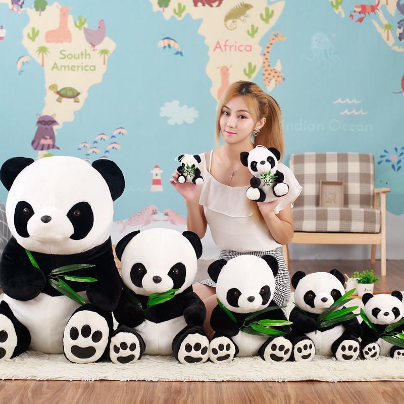 25/30/40/50 cm Simulation Panda Eating Bamboo Plush Bed Doll Education Toys For Girl Boy Children