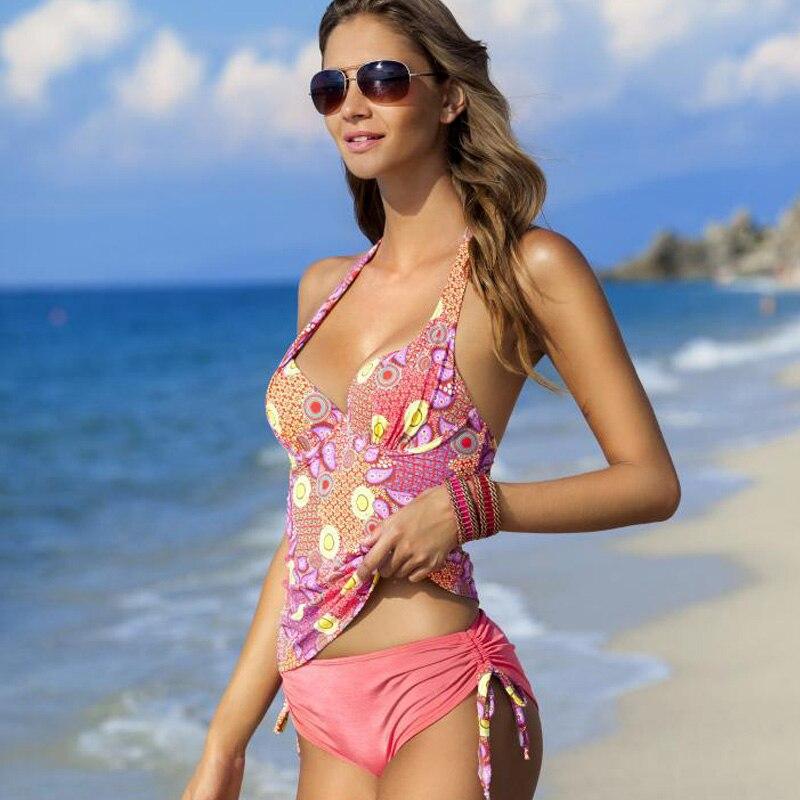 2017 New Plus Size Women Bikini Sets Large Sized Printed Swimwear Push Up Scrunch Back Professional Swimsuit Beach Dress Bathing maison jules new blue women large l umbrella printed surplice jumpsuit $79 059