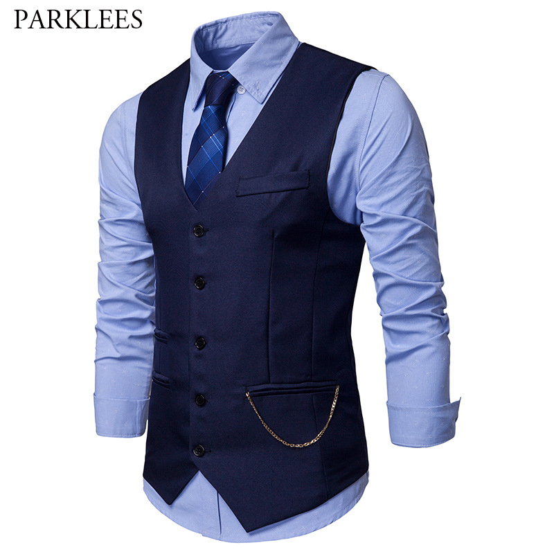 Mens Slim Fit Single Breasted Suit Vest Chaleco Hombre 2019 Fashion Chain Sleeveless Waistcoat Men Formal Wedding Dress Vests