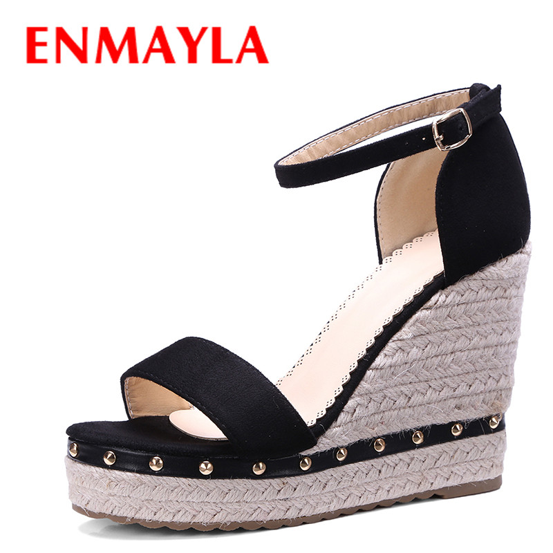 ENMAYLA Summer Flock Wedges Heels Ladies Sandals Women High Heels Rivets Open Toe Shoes Woman Strppy Platform Sandals Black Pink  enmayla flowers wedges heels platform sandals women open toe high heels shoes woman solid color ladies sandals female shoes