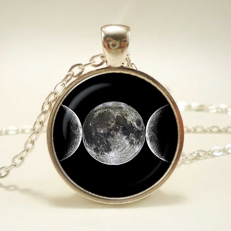 Triple Moon Goddess Pendant,  necklace, sign jewelry, Magic Sign,christmas gift.
