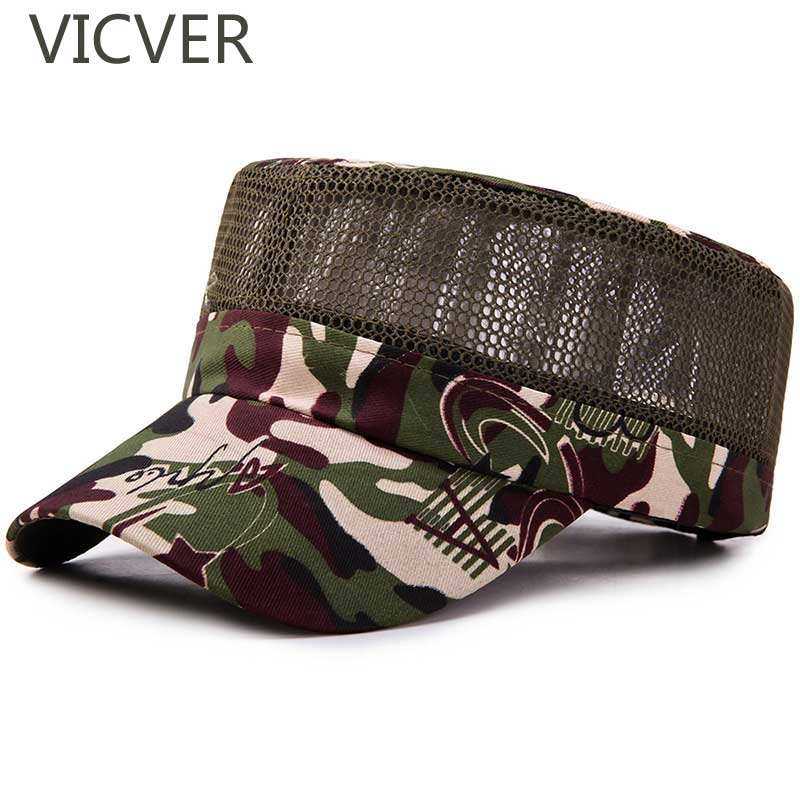 2019 Camouflage Tactical   Cap   Men Mesh   Baseball     Caps   Trucker Flat Hat Outdoor Snapback Hats Casual Hunting Camping Fishing   Caps