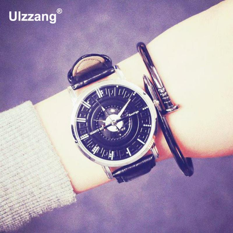 где купить  2017 New Fashion Casual Leather Quartz Watch Wristwatch For Women Men Black Brown Ladies Clock Relogio Feminino Female  по лучшей цене