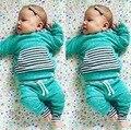 2017 Primavera Bebé Ropa de Las Muchachas 100% de Algodón Con Capucha de la Chaqueta + Pantalones Niños Trajes Ropa de Niño Bebé Kleding Meisje SYHB12179