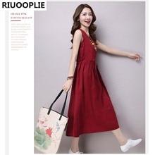 RIUOOPLIE New Summer dress Ethnic Cotton Linen dresses women Solid Casual Loose Sleeveless