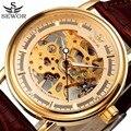 Sewor relógio esqueleto vencedor relógio mecânico dos homens do desenhador de couro ouro mens relógios top marca de luxo relógio relogio masculino