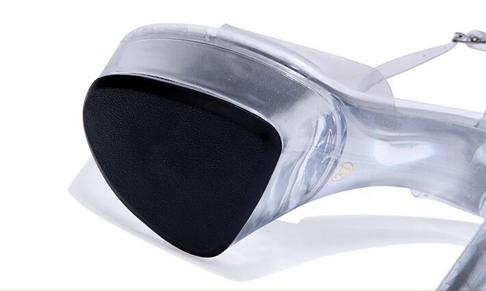15cm Plate 12cm Cm forme Mariage Sexy Étanche 15 12 Chaussures Sandales Avec Hot Talons Haute Transparent Fine Cristal Style De Super PR5wW0qvH