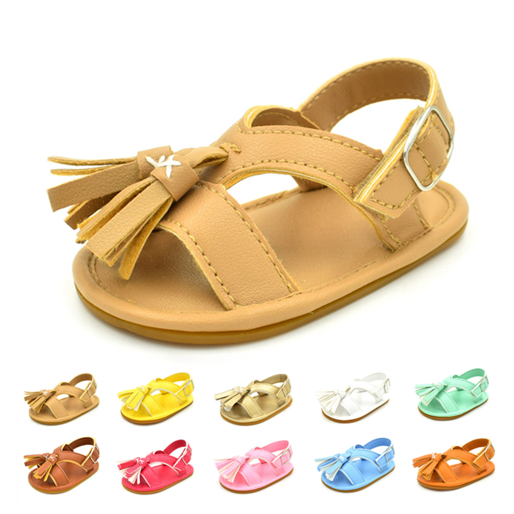 New fringe baby sandals cute Tassel Boys girls Pu leather sandals hard sole anti-slip infant Child baby sandals