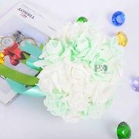 Wedding Bridal Bouquet White Roses Foam Artificial Flower w/ Green Satin Silk Clasp Spring Theme