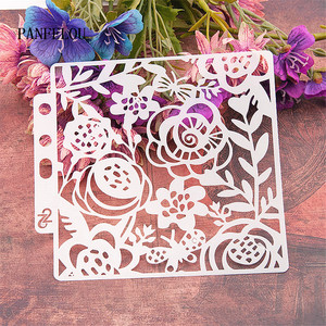 Leaves garden spring scrapbook stencils spray plastic mold shield DIY cake hollow Embellishment printing lace ruler valentine