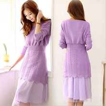 Korean style female sweater dress two-piece suit autumn slim knit package hip bottoming dress vestidos