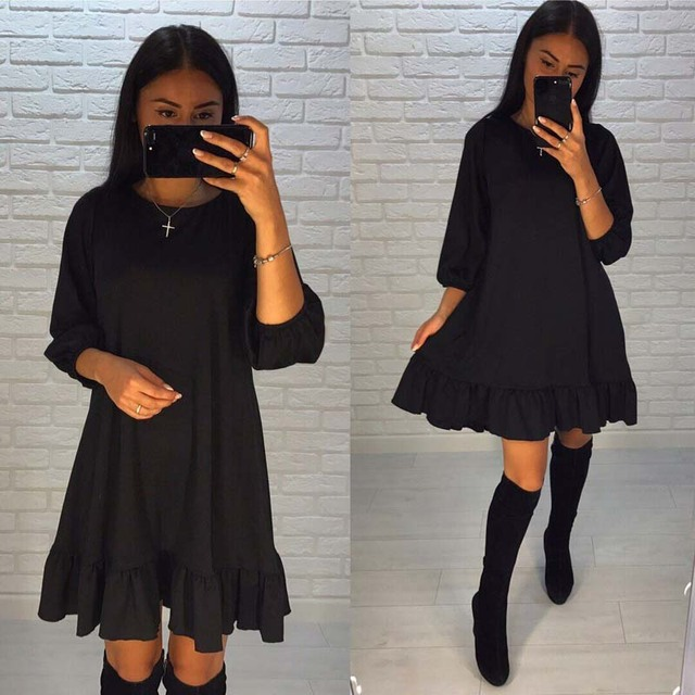 2018 Fashion Womens Summer Style Ruffle Casual Mini Dress Spring O-neck Three Quarter Lantern Sleeve Loose Vintage Party Dresses