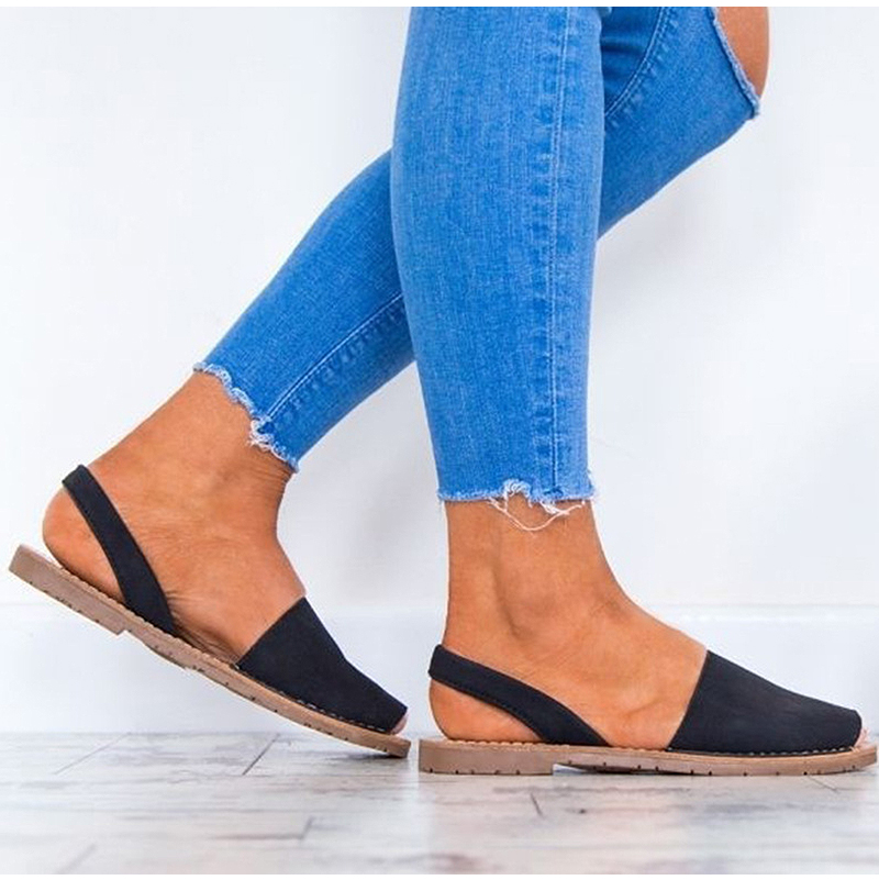 HTB1E39VtbGYBuNjy0Foq6AiBFXaV MCCKLE Summer Sandals Women Plus Size Flats Female Casual Peep Toe Shoes Faux Suede Slip On Elastic Band Leisure Solid Footwear