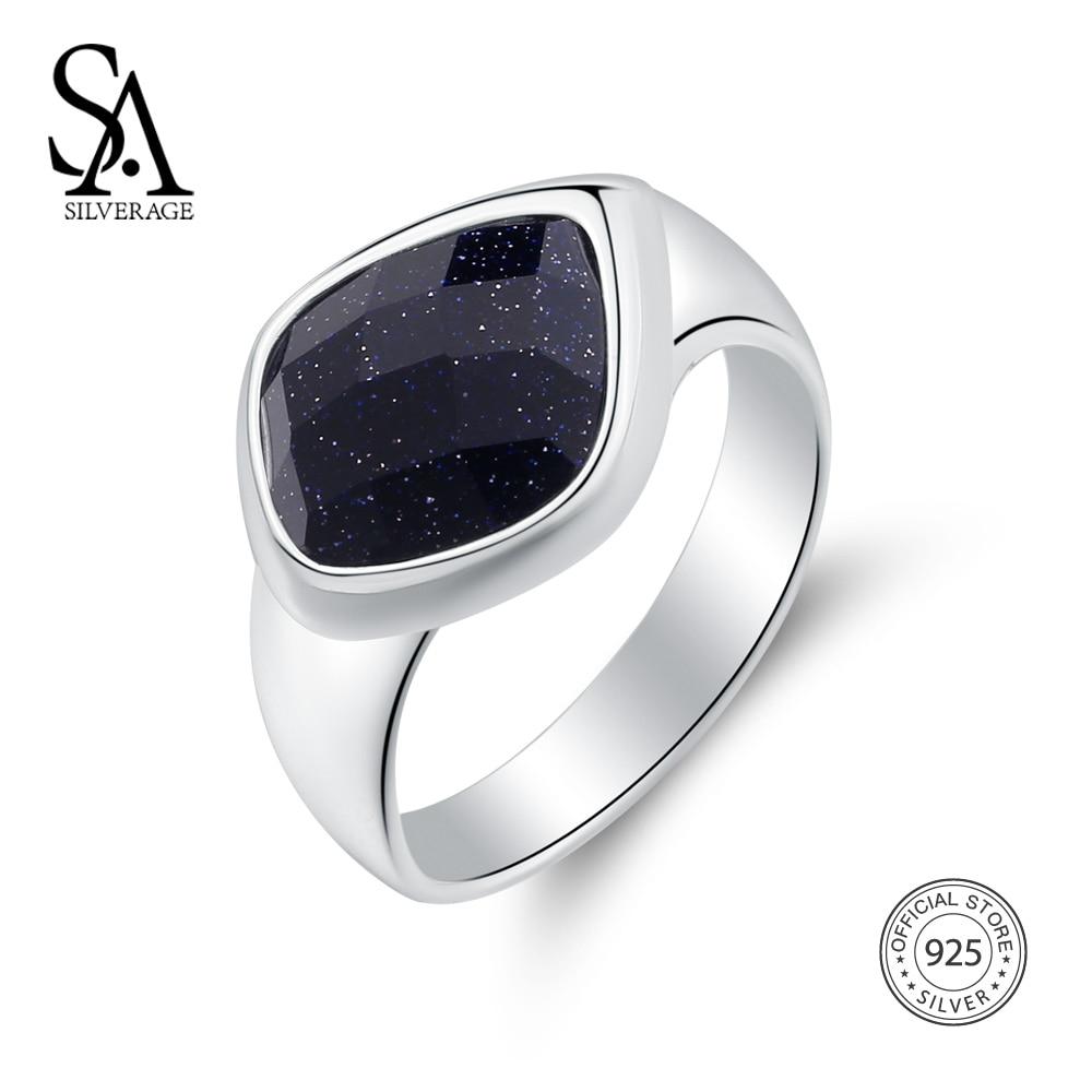 SA SILVERAGE 925 Sterling Silver Wedding Rings for Women Fine Jewelry Adjustable Black Gemstone Women Silver 925 Ring sets все цены