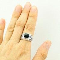 Размер: 8-11 высокое качество Античное посеребренное мужское кольцо рождественское Новое Кольцо черное квадратное эмалированное кольцо ювелирные украшения