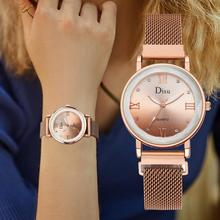 Luxury Diamond Watch Women New Ladies Dress Watches Rose Gold Top Brand Designer Women Quartz Waterproof Clock relogio feminino dom women watches dom brand luxury new casual waterproof leather dress quartz watch mesh strap clock relogio faminino g 36gk 1ms