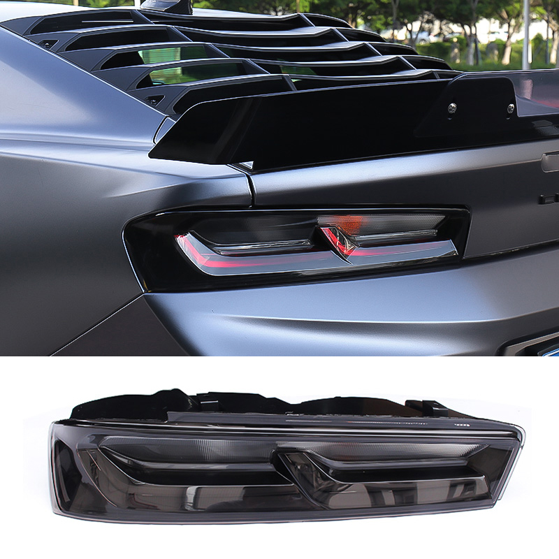 QHCP Acrylic + ABS Material Smoked Black Tail Lamp Assembly LED Tail Light Replacement For Chevrolet Camaro 2016 2017 2018 2019