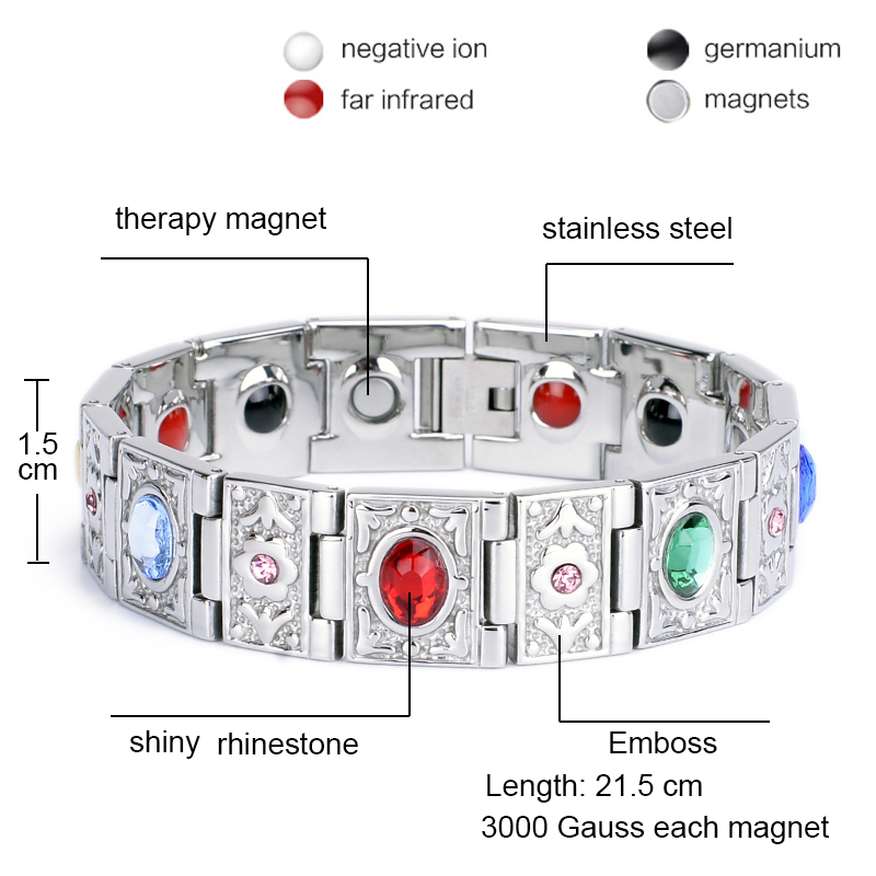 Oktrendy Stainless Steel Magnetic Therapy Bracelet Crystal Stone Charm Bracelet Weight Loss Product For Women in Chain Link Bracelets from Jewelry Accessories