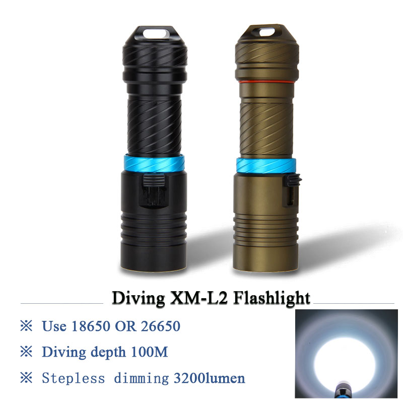 Xm L2 Led Scuba Diving Flashlight 26650 Or 18650 Lantern Underwater Worklight Lampe Torche Charge Waterproof Torch Flashlight Led Lighting