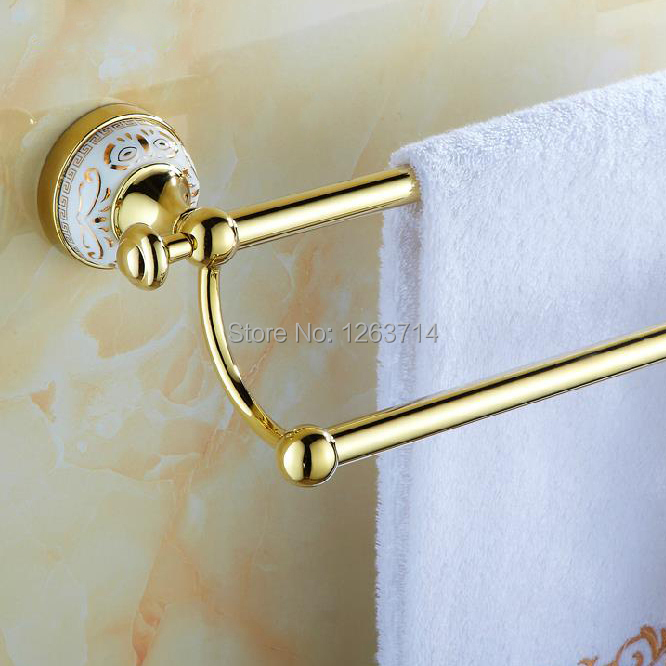 ФОТО Free Shipping Solid Brass Gold Finish Double Towel Bar,Golden Towel Rack,Bathroom Accessories Products HJ-1911K