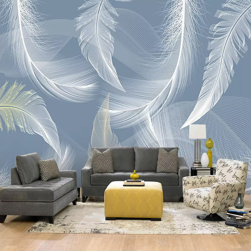 Custom Size 3D Photo Wallpaper Nordic Modern Art Wall Painting White Feather Living Room Sofa TV Background Mural Wall Covering