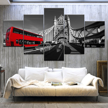 5 Panel HD Print A red bus in London street modern wall posters Canvas Art Painting For home living room decoration naturally beautiful places in india landscape 5 panel hd print wall posters canvas art painting for home living room decoration