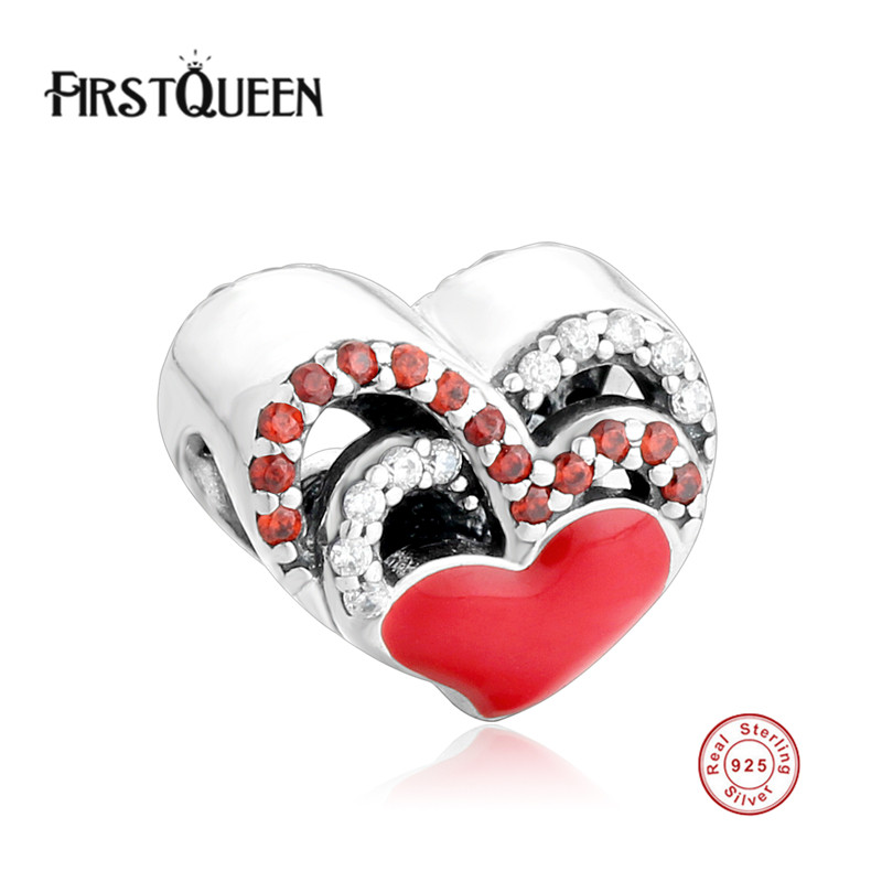 FirstQueen 2017 New Real 925 Sterling Silver Enamel Heart Charm Beads 10pcs lot