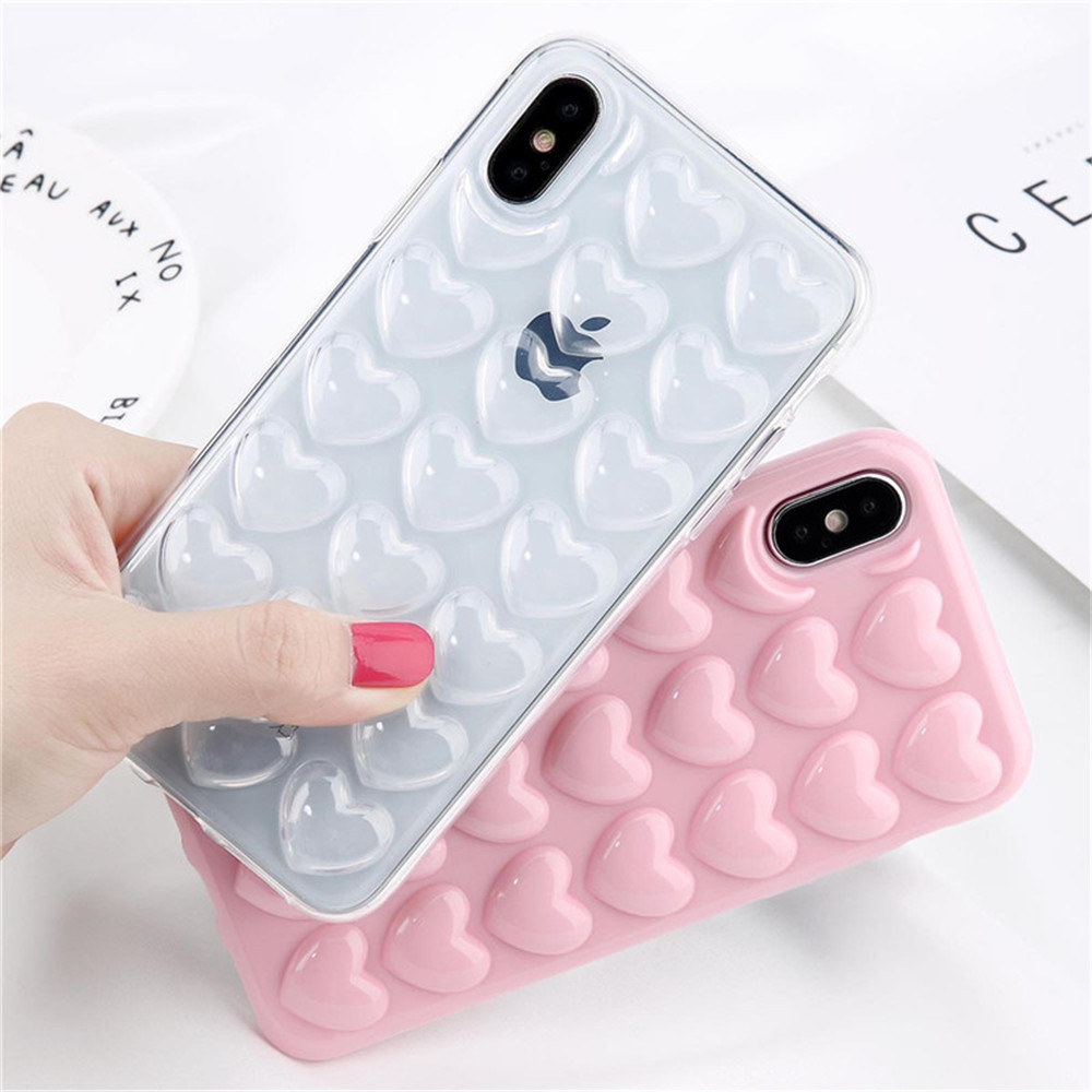 3D Cute Cartoon Love Heart With Lanyard TPU Silicone Case