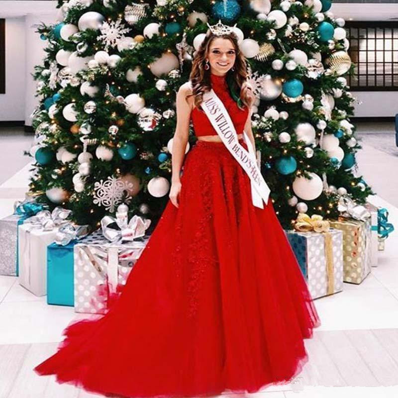 Red 2019   Prom     Dresses   A-line High Collar Tulle Lace Beaded Two Pieces Maxys Long   Prom   Gown Evening   Dresses   Robe De Soiree