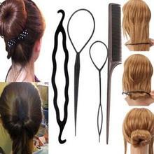 Горячая Распродажа четыре штуки Пластик тянуть шпилька для волос Инструменты для укладки волос хобби Стайлинг для волос аксессуары наборы приспособление для укладки волос в узлы