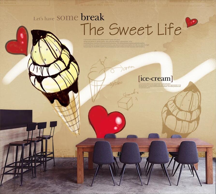 Custom wallpaper mural hand-painted ice cream background wall