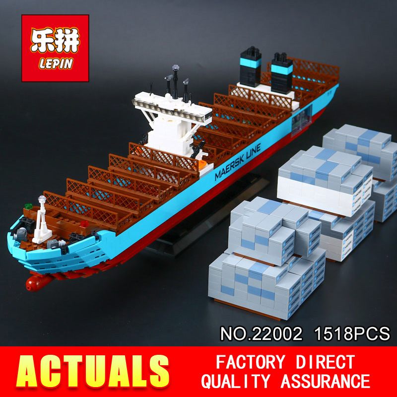 Lepin 22002 New 1518Pcs Genuine Technic Series Maersk Line Triple-E Toys Building DIY Blocks Bricks 10241 lepin 22002 1518pcs the maersk cargo container ship set educational building blocks bricks model toys compatible legoed 10241