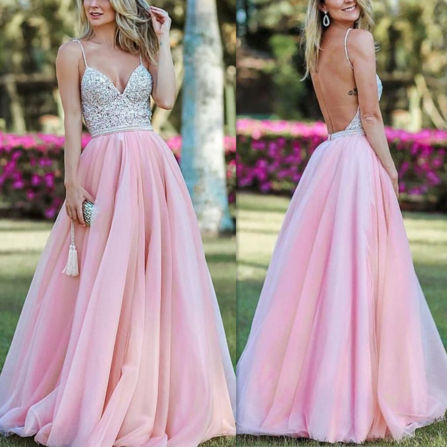 Bright Heavy Manual Beads V-neck Neckline Party   Dress   with Spaghetti Strap Beads Belt Backless   Prom   Evening   Dress