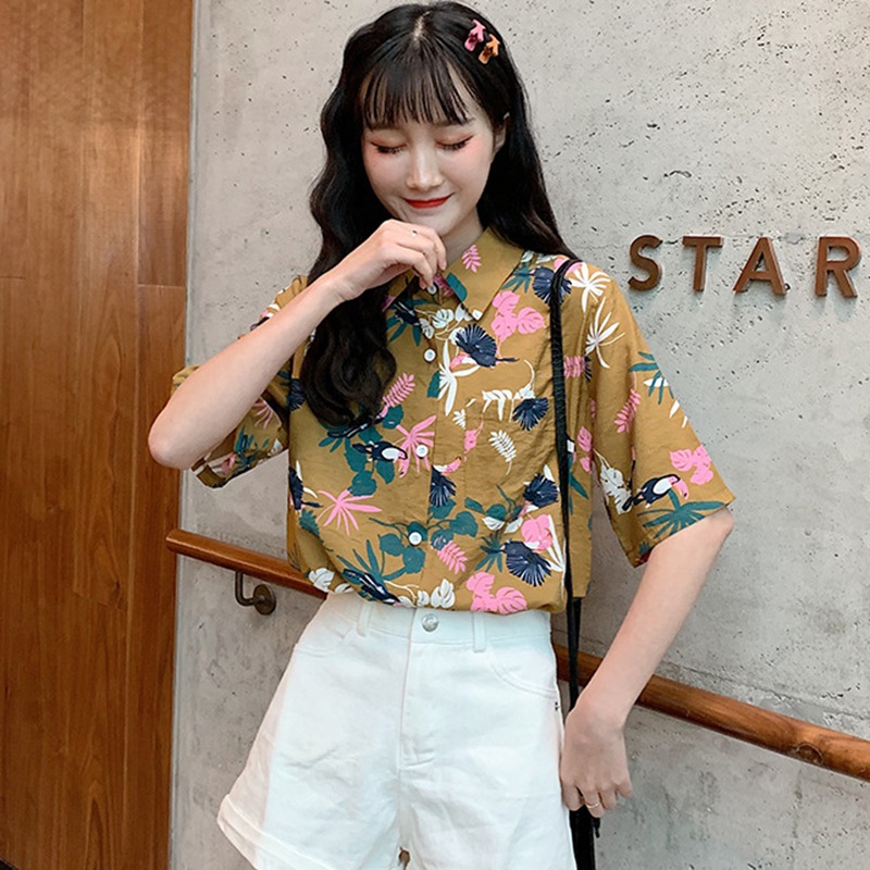 Women's Leaves Print Turn-down Collar   Blouse     Shirt   Top Hawaiian Short Sleeve Button Up   Blouse