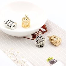 2pcs/bag Bow accessories alloy pearl Necklace pendant bird cage Hollowed out retro birdcage DIY Jewelry Accessories hand made(China)