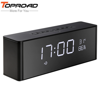 TOPROAD Portable Bluetooth Speaker With Microphone Stereo Rock Sound Outdoors Wireless PC Phone Speakers TF/FM /Alarm/Time Clock